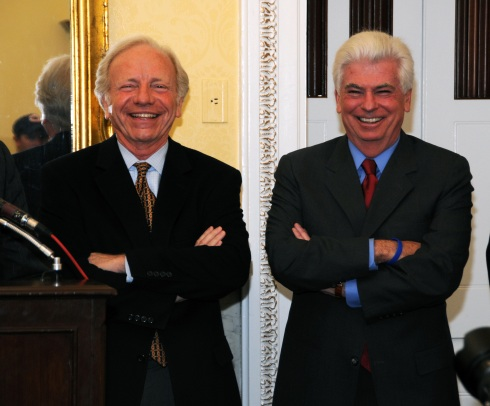 Sens. Dodd and Lieberman at Capitol Hill press conference by Sarah Beth Yoder